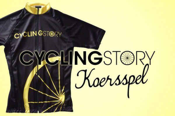 Cycling Story Koersspel logo met ons eigen Cycling Story wielershirt