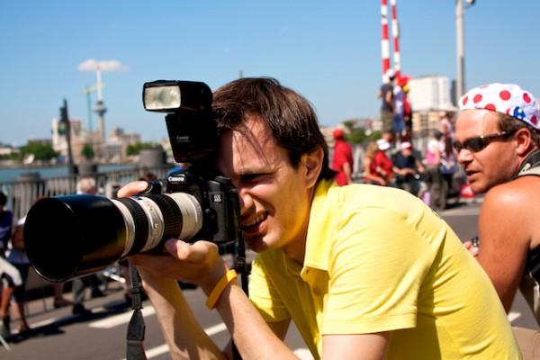 Laurens in actie tijdens de Tour de France in Rotterdam