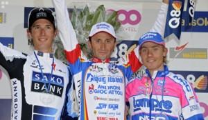 Het podium van de Waalse Pijl 2009: Schleck, Rebellin, Cunego © PhotoNews