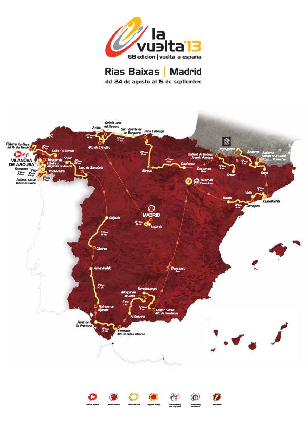 Vuelta a Espana 2013 - Routekaart