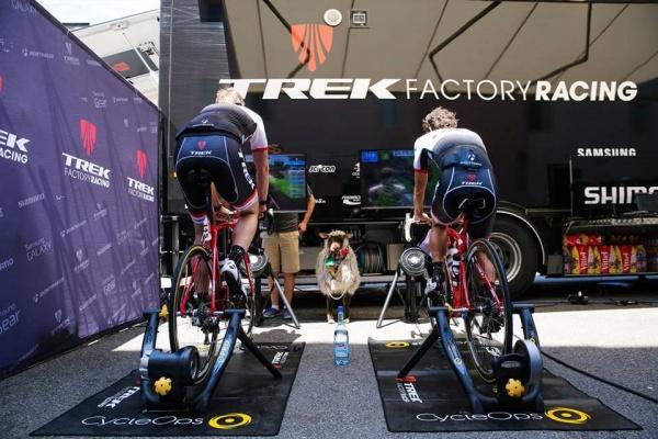Jens Voigt en Julian Arredondo van Trek Factory Racing fietsen met Zwift op de rustdag in Gap tijdens de Tour de France 2015. (foto: © Zwift)