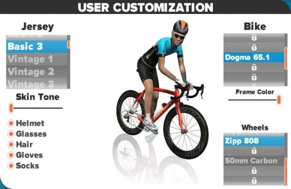 Voor iedere getrainde kilometer krijg je punten waarmee je kleding, fietsen en wielen vrijspeelt.