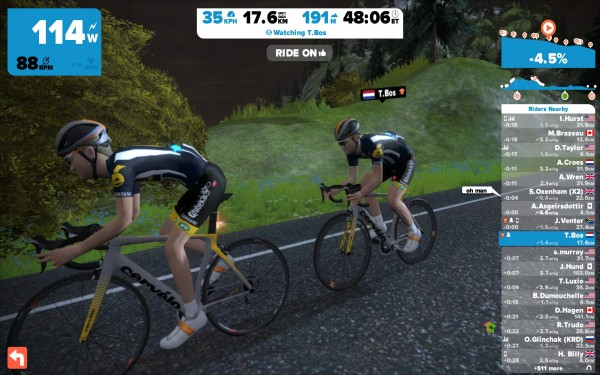 Theo Bos en Jaco Venter op Zwift (© Laurens Alblas / cyclingstory.nl)