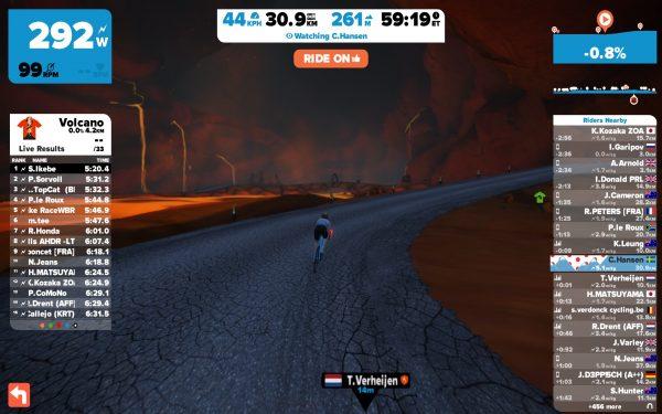 Binnenin de vulkaan (© cyclingstory.nl)