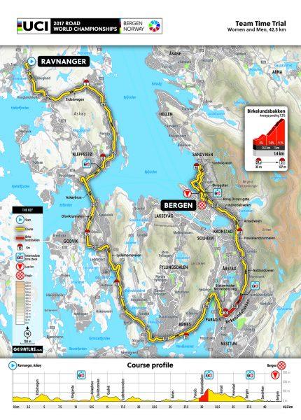 WK Wielrennen Bergen 2017 - Parcours ploegentijdrit